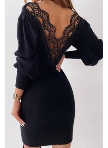 BLACK&GRACE Kadın Vizon Sırt Detaylı Elbise Siyah